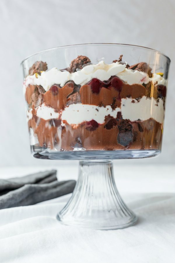 Brownie Black Forest Trifle iin clear trifle dish