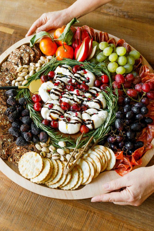round Winter Burrata Charcuterie Board