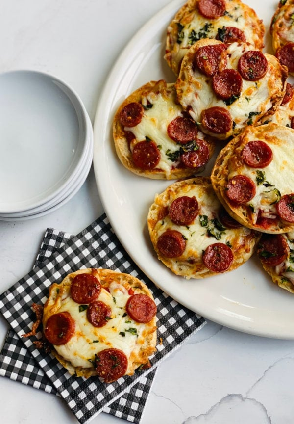 serving of English Muffin Pepperoni Pizzas