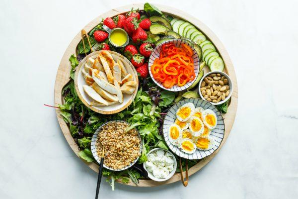 round board of Chicken Faro Salad items