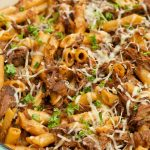 close up Sugo di Carne with penne pasta