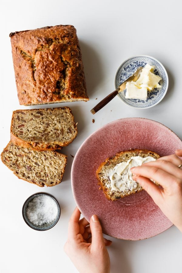 slice of banana bread with dates