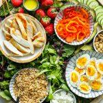chicken, farro, eggs, lettuce for boards