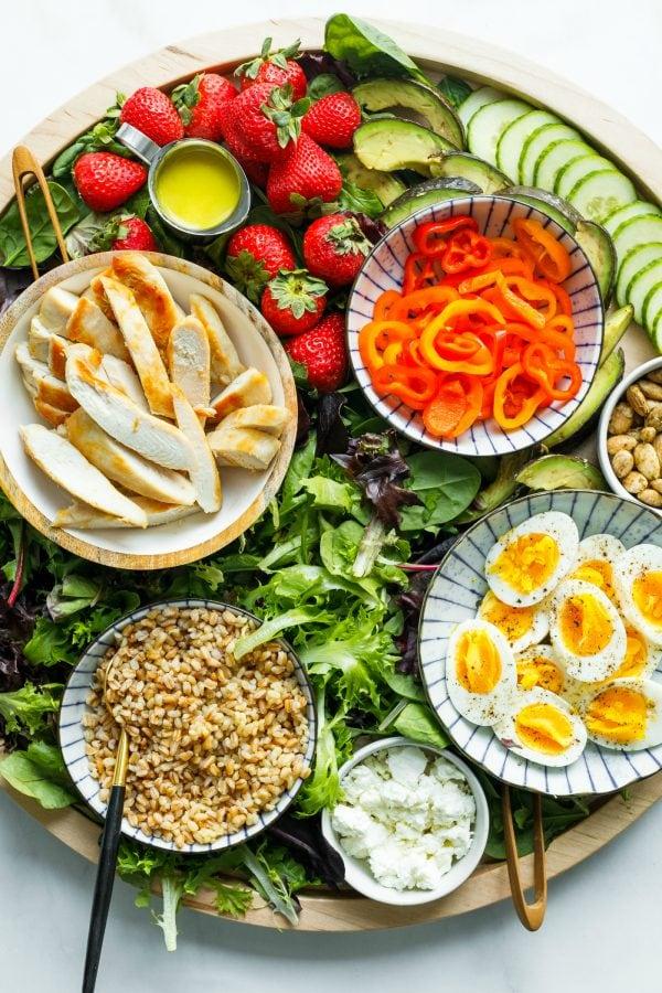 chicken, faro, eggs, lettuce for boards