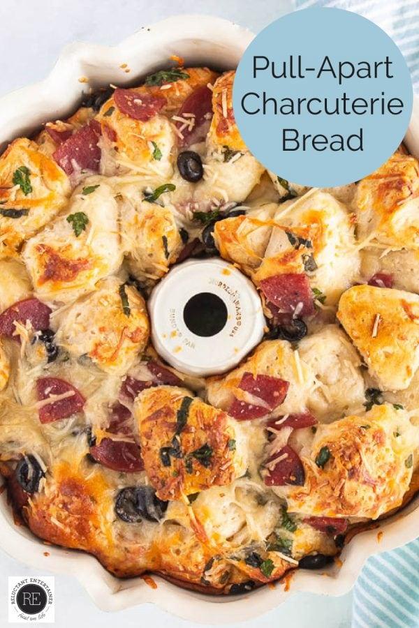 charcuterie bread in a bundt pan