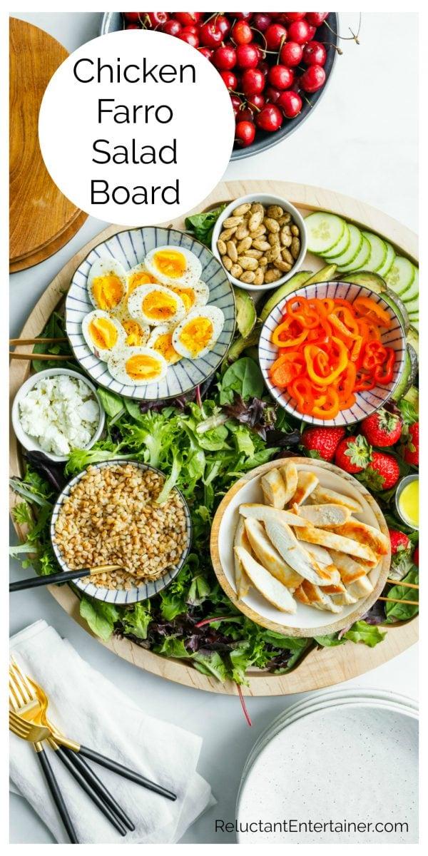 Chicken Faro Salad Board ingredients
