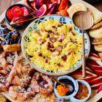 scrambled eggs on breakfast board