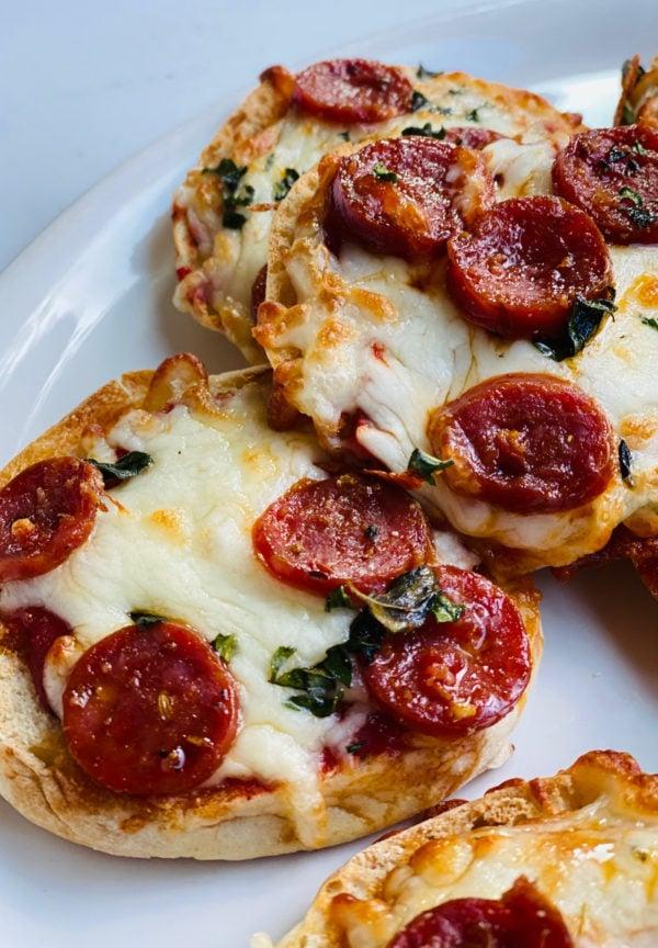 2 English Muffin Pepperoni Pizzas