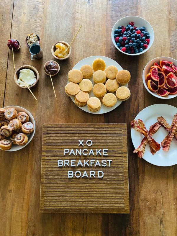 XO pancake sign with board ingredients
