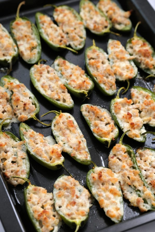 close up Cheesy Baked Jalapeño Poppers with sausage