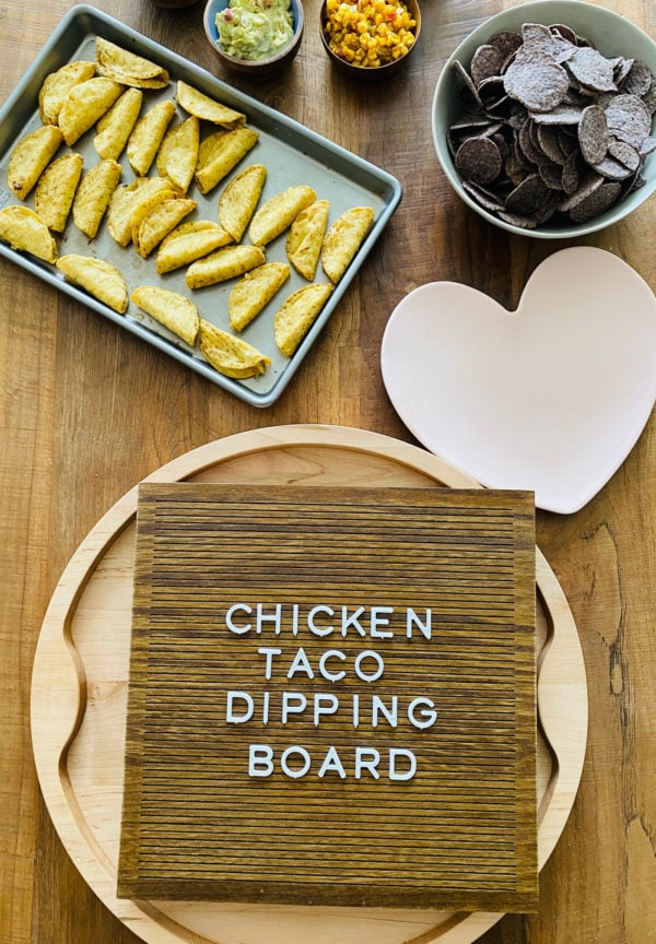 ingredients for Chicken Taco Dipping Board