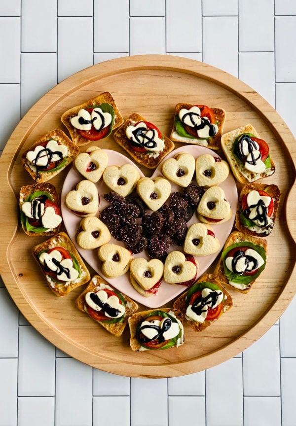 round wood Heart Caprese Sandwich Board