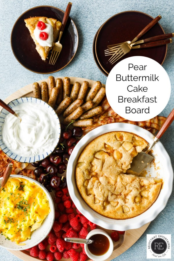a vibrant Pear Buttermilk Cake Breakfast Board