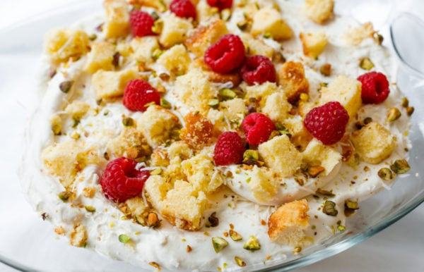 close up Pound Cake Lemon Trifle