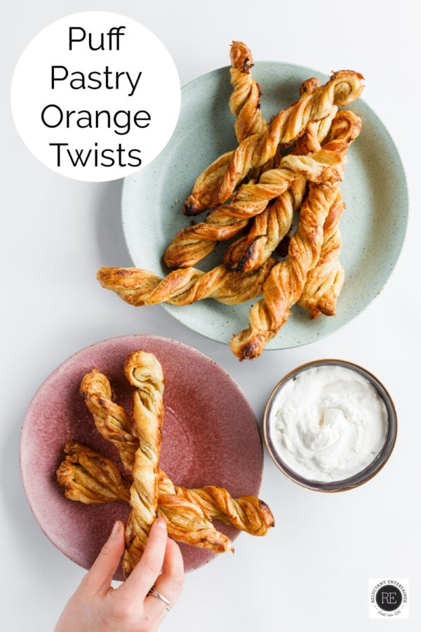 Puff Pastry Orange Twists on a plate