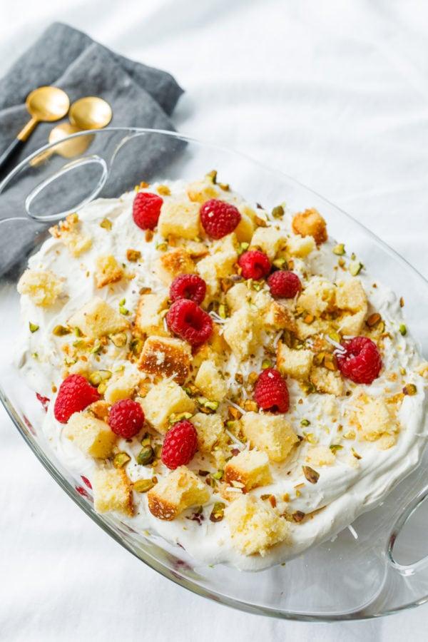 glass bowl of Pound Cake Lemon Trifle