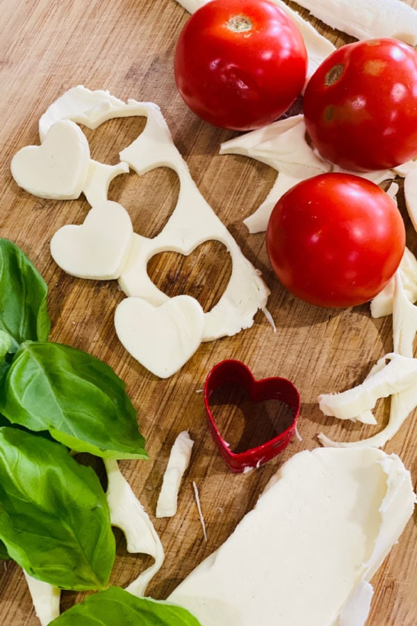 cutting out heart cheese