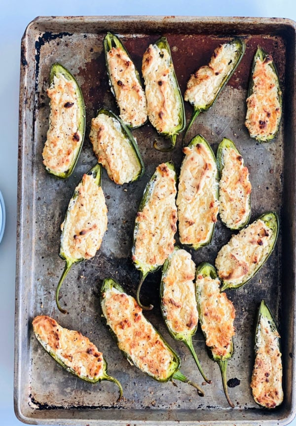 pan of Cheesy Baked Jalapeño Poppers