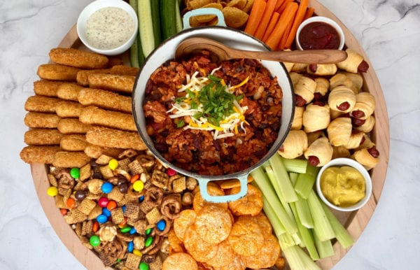 chili board with game day snacks