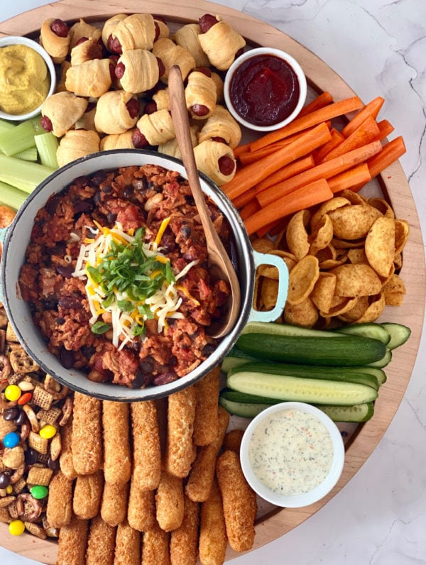 game day board with pot of chili