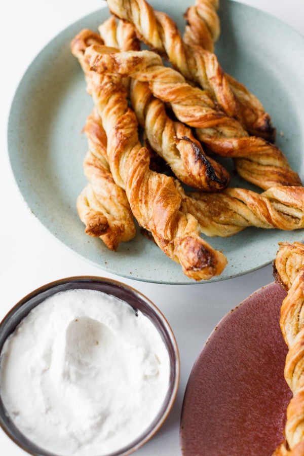 Puff Pastry Twists on a plate