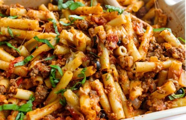 Best Italian Pasta Bake with fresh basil