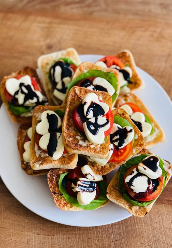 plate of Heart Caprese Sandwiches