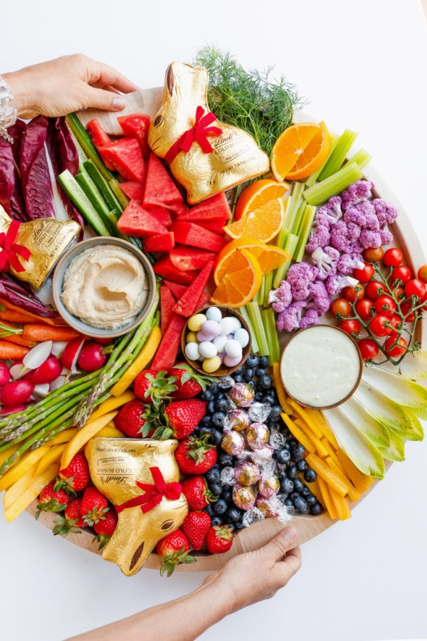 beautiful Easter appetizer with veggies and fruit