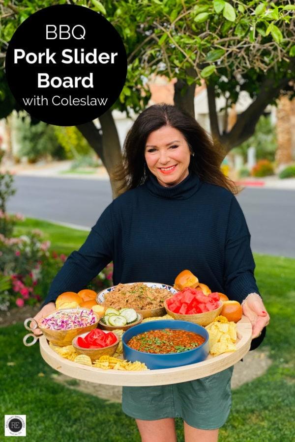 woman holding a BBQ Pork Slider Board