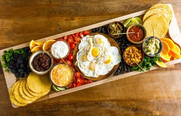 breakfast board with tostada ingredients