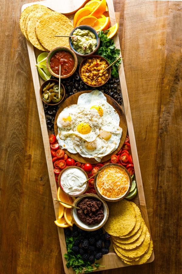 12 x 36 inch Mexican Tostada Breakfast Board