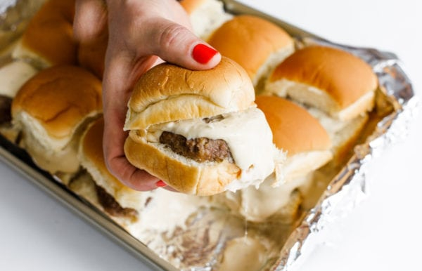 one Best Beer Cheese Slider on a dinner roll