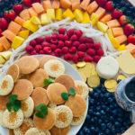 rainbow breakfast board with silver dollar pancakes