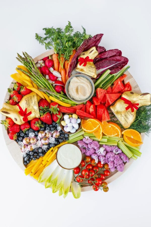 a round vegetable platter for Easter