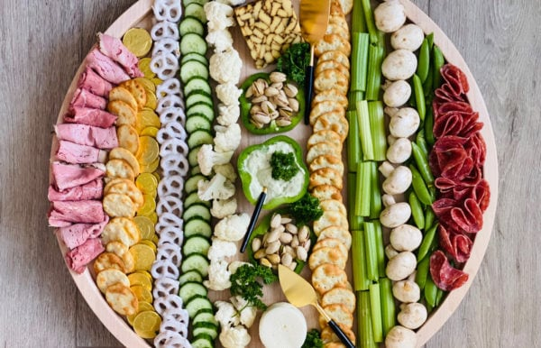 green and white rows of food on food board