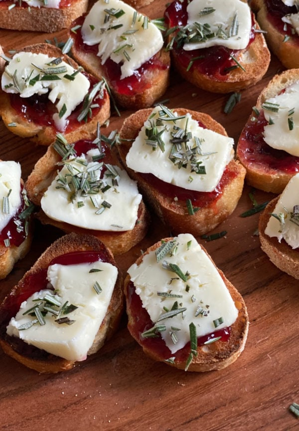 Strawberry Brie Crostini with fresh rosemary