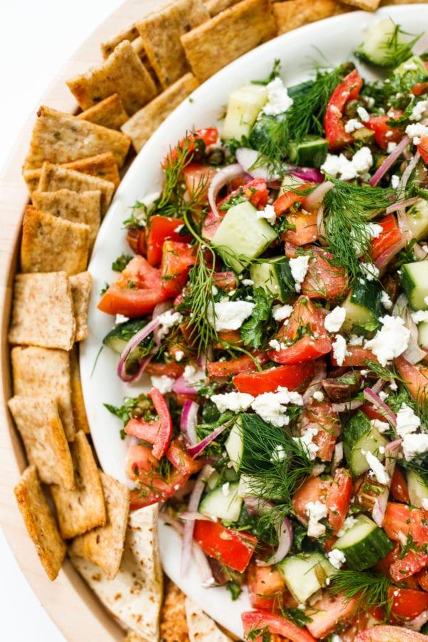 Tomato Cucumber Herb Salad with pita