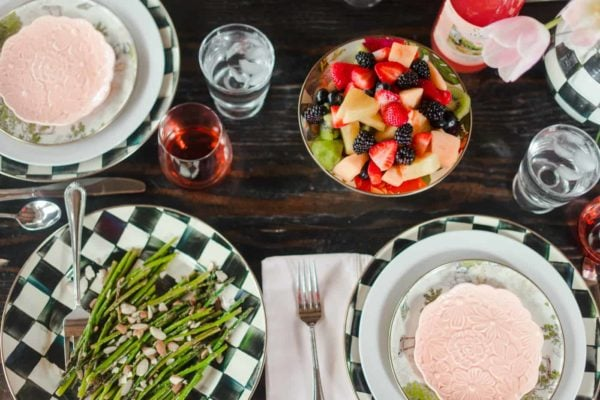 Easter table setting with vanilla fruit salad