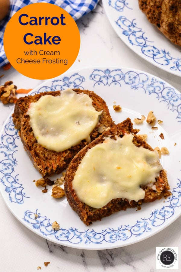 2 slices of carrot cake with cream cheese frosting