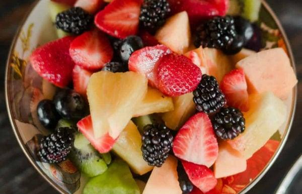 fruit salad with vanilla glaze