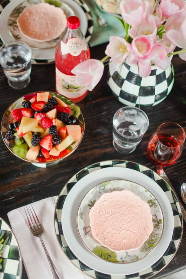 setting the table for Easter with fruit salad