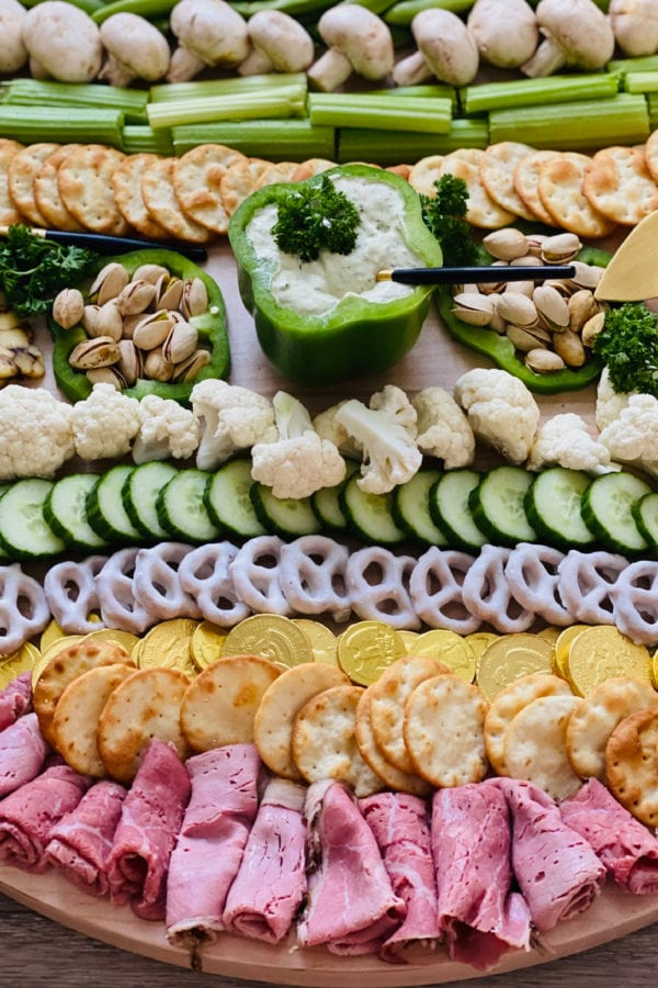St. Patrick's Day Grazing Board with bell pepper dip