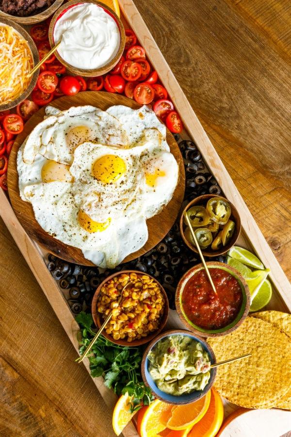 jammy eggs on breakfast board