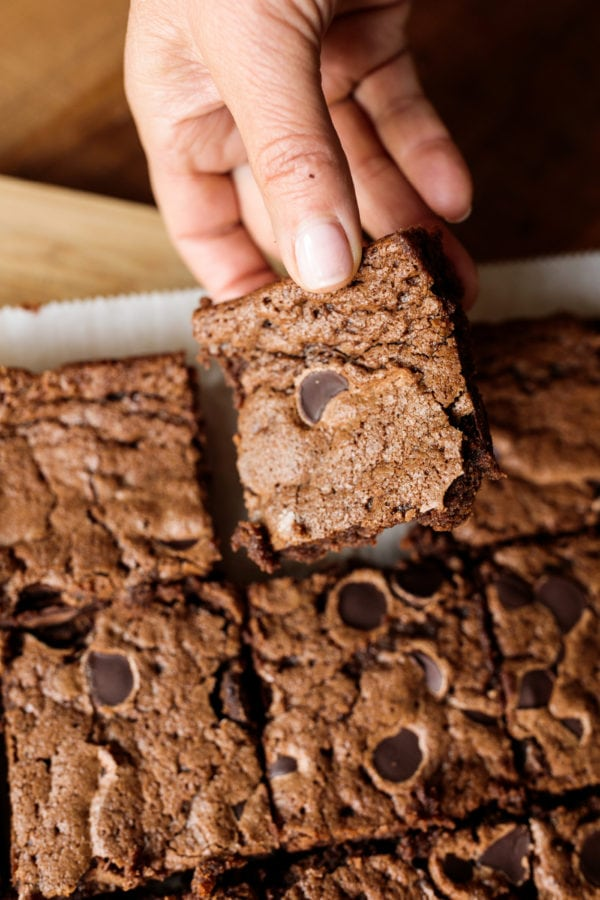 Taking a piece of Mexican Chocolate Brownies