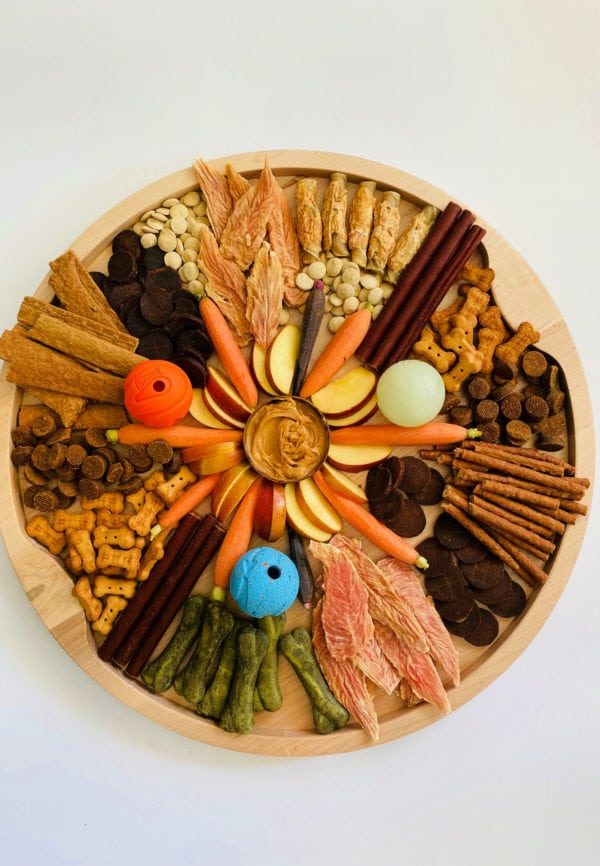 a round Charcuterie Board for Dogs