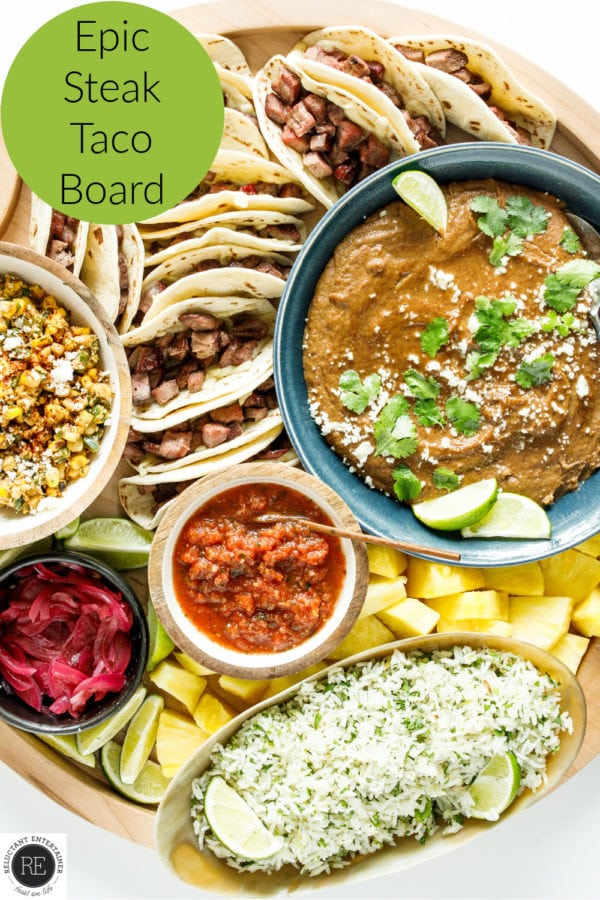 tacos, beans, rice, corn