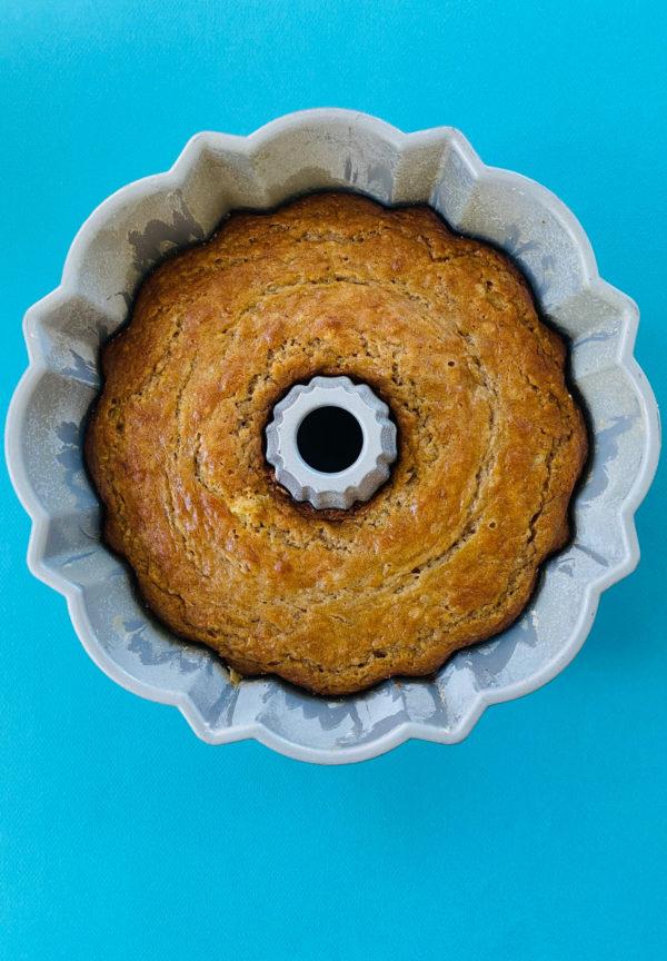 Banana Bundt Cake still in the bundt pan