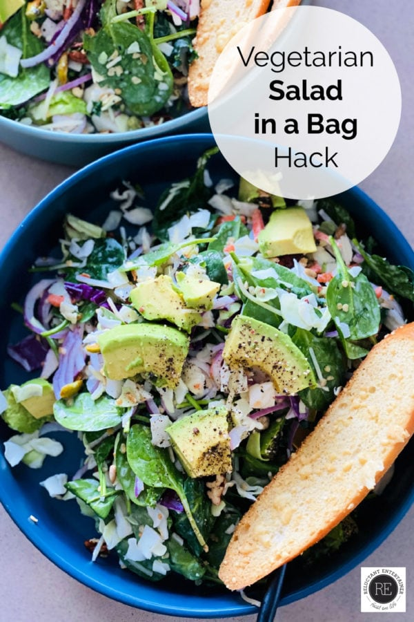 vegetarian salad in a bag salad in round bowl witih toast