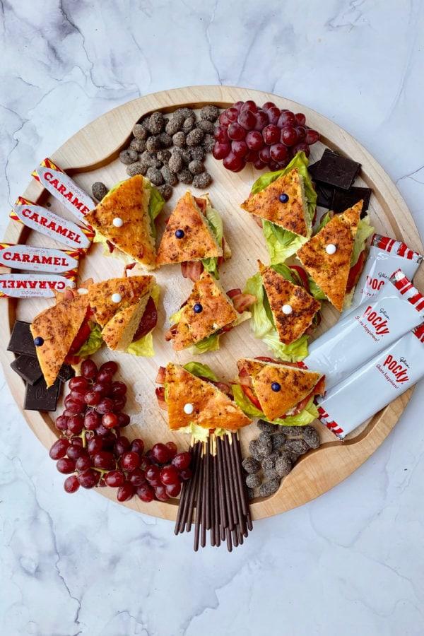 triangle BLT Focaccia sandwiches