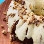 Sour Cream Banana Cake on a wood plate